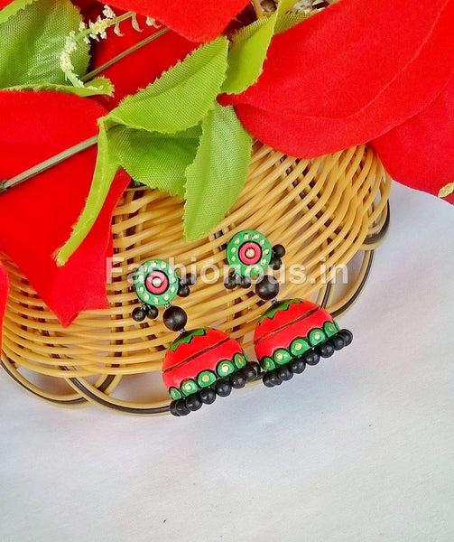 Red and Green Terracotta Jhumka