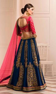 Red and Navy Blue Embroidered Bridal Lehenga