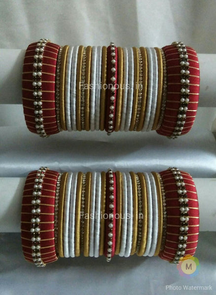 Red and White Silk Thread Bangles