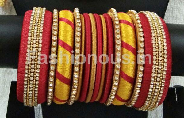 Red and Yellow Stone Worked Silk Thread Bangle Set-STJSW-038
