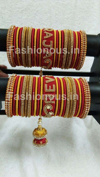Red and Yellow Stone Worked Silk Thread Wedding Bangle Set-STJSW-021