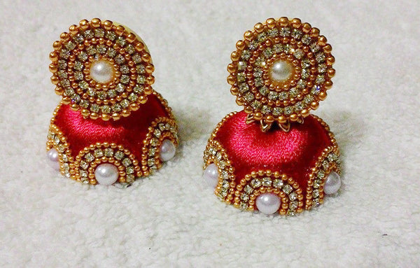 Red and gold pearls  Designer Silk Thread Jhumkas