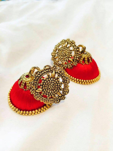 Red antique attached silk thread Jhumkas