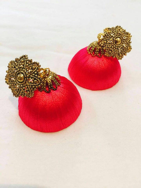 Red color antique attached Silk Thread Jhumkas