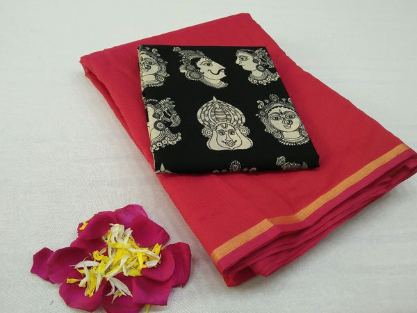Red with Face Designed Blouse Fancy Cotton Saree-SRE-752