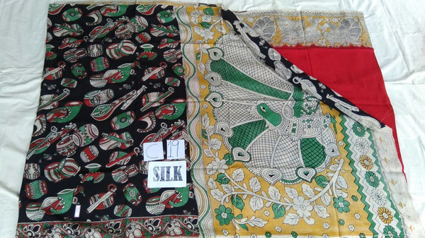 Red with Patil Pallu Silk Kalamkari Saree-KALAMKARI-0018