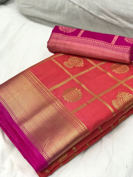 Red with Pink Border Banarasi Nylon Silk Saree pink coloured saree with magenta border partywear