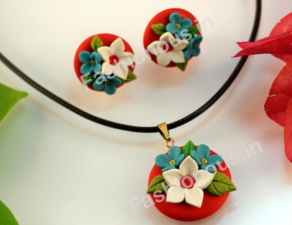 Red with White and Blue Floral Necklace and  Earrings-ZAPCNS-034