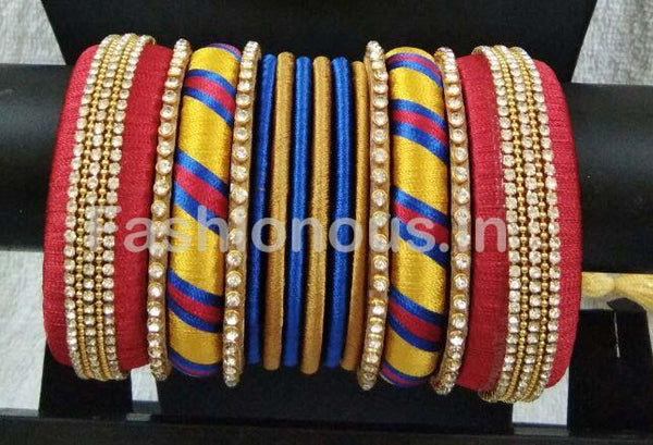 Red with Yellow and Blue Stone Worked Silk Thread Bangle Set-STJSW-039