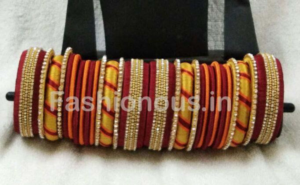 Red with Yellow and Orange Stone Worked Silk Thread Bangle Set-STJSW-040