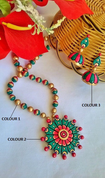 Round Flower Terracotta Jewellery Set