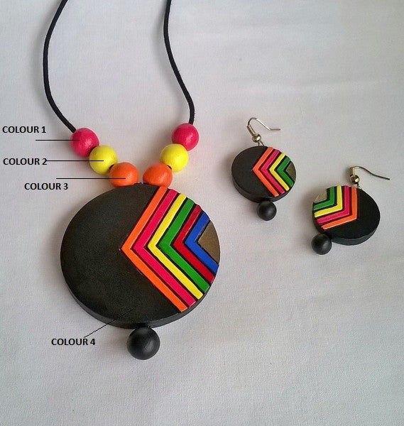 Round Multi-Coloured Terracotta Jewellery Set