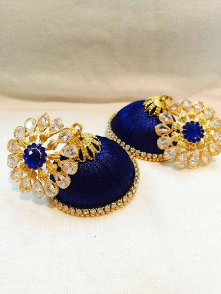 Royal Blue Flower attached Silk Thread Jhumkas