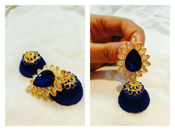 Royal Blue Kundan attached Silk Thread Jhumkas
