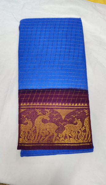 Royal Blue and Purple-Madurai Sungudi Sarees - Double side Jari Border