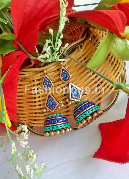 Royal Blue and Sky Blue Terracotta Jhumka