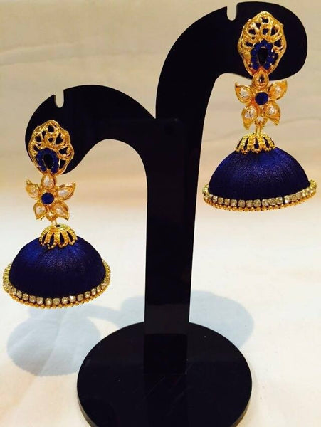 Royal Blue designer Silk Thread Jhumkas