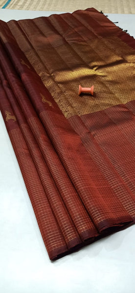 Rust Brown Pure Silk Saree