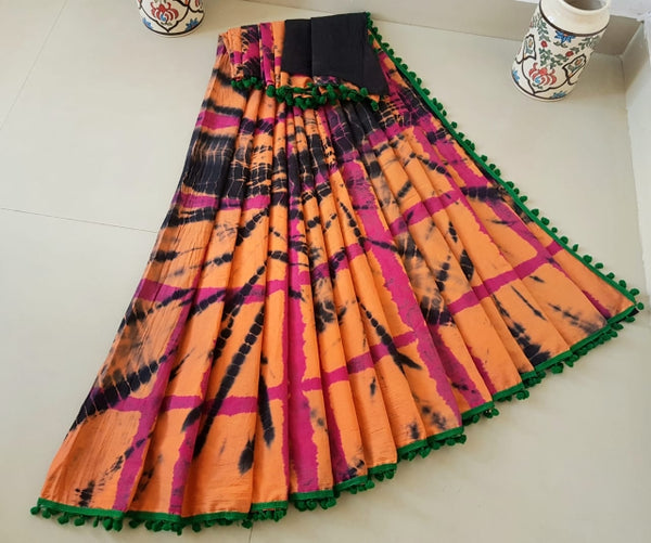 Peach Cotton Saree- TCS036