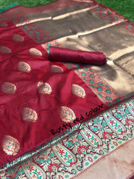 Rusty Red Katan Silk Saree-KSS003 red and green coloured festival saree