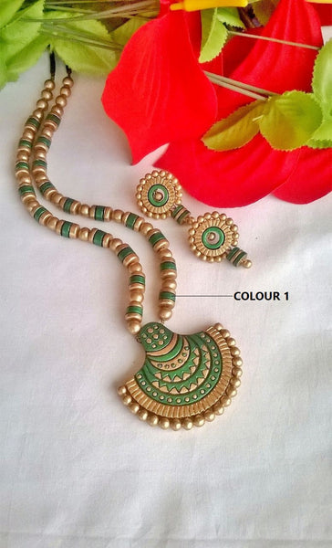 SemiCircle Green Terracotta Jewellery Set