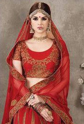 Scarlet Red Embroidered Bridal Lehenga