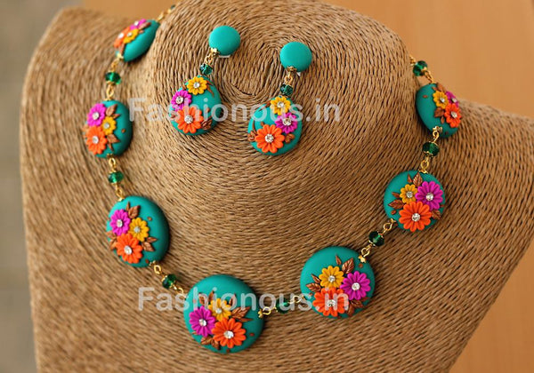 Sea Green Floral Necklace and Earrings-ZAPCNS-052