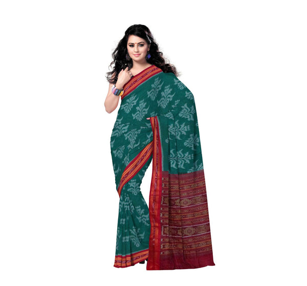 Sea Green Traditional Floral Designed Handloom Cotton Saree-OSS151