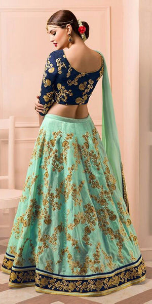 Sea Green and Navy Blue Embroidered Bridal Lehenga