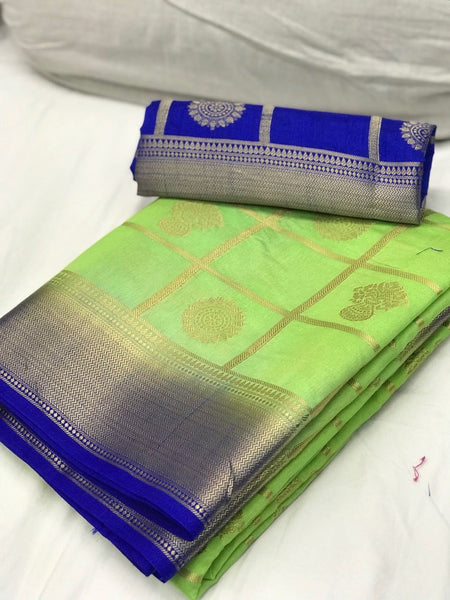 Sea Green with Blue Border Banarasi Silk Saree-SRE-1097 light green coloured lightweight saree