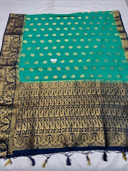 Sea Green with Zari Floral Designed Blue Pallu Paithani Saree-PAITHANI-110
