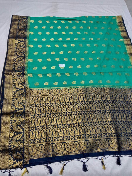 Sea Green with Zari Floral Designed Blue Pallu Paithani Saree