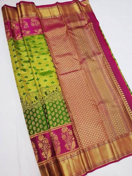 Shining Green and Magenta Kanchipuram Silk Saree KRSS 004