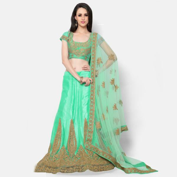 Shining Light Green Embroidered Bridal Lehenga
