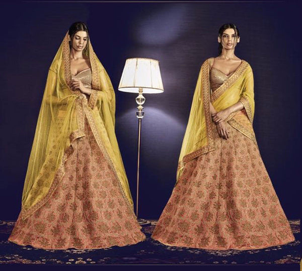 Shining Pinkish and Light Mustard Embroidered Bridal Lehenga