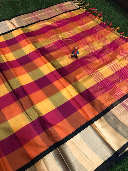 Gifted Gerbera Silk Cotton Saree-SKCSRE003 Orange, pink and yellow combination partywear with black
