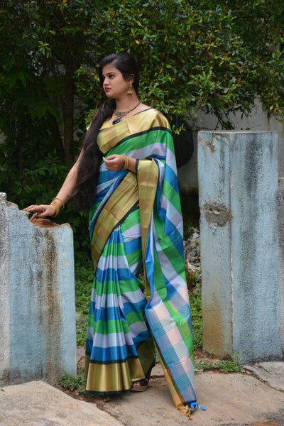 Cyan-Pear Duet Silk Cotton Saree-SKCSRE006 Shades of green and blue combination with golden borders