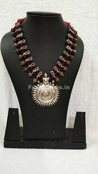 Silver Antique Pendant with Maroon Crystal Oxidised Jewellery Set-OXDJ-002