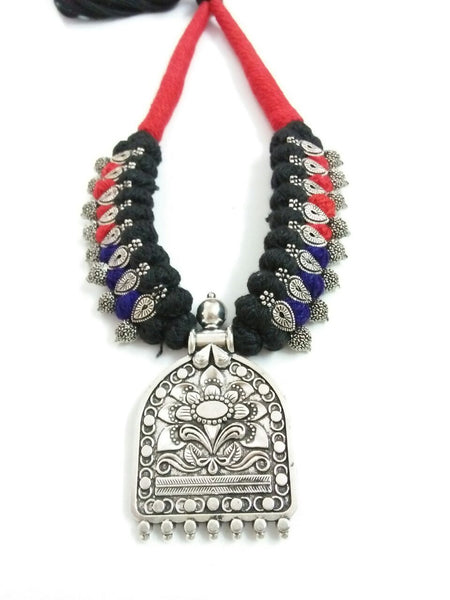 Silver Floral Antique Pendant Oxidised Jewellery Set-OXDJ-020