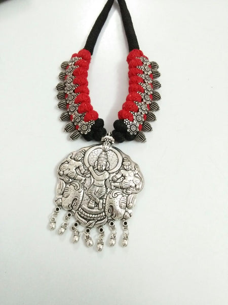 Silver Krishna Antique Pendant Oxidised Jewellery Set-OXDJ-021