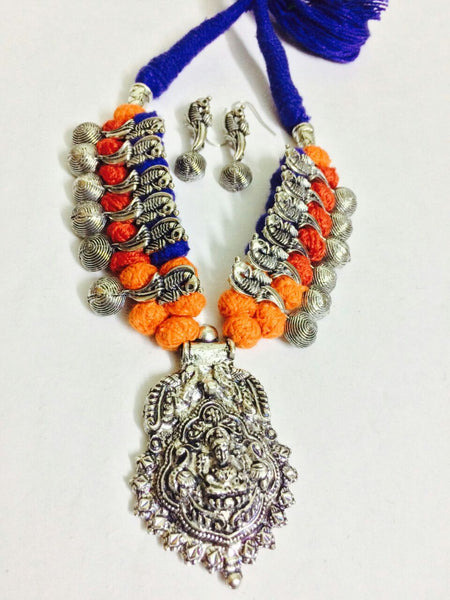 Silver Peacock Beads and Antique Pendant Oxidised Jewellery Set-OXDJ-025