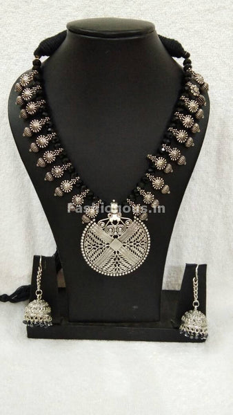 Silver Round Antique Pendant with Black Crystal Oxidised Jewellery Set-OXDJ-006