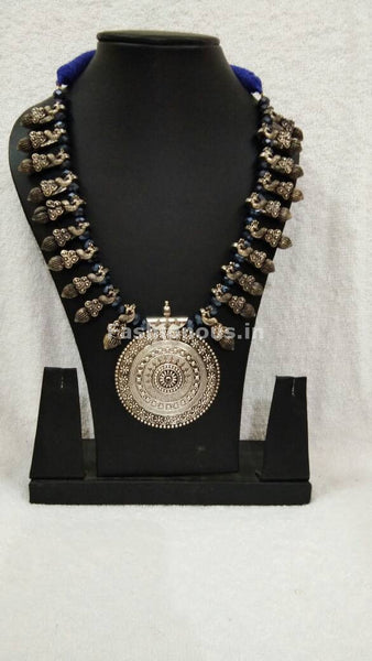 Silver Round Antique Pendant with Dark Blue Crystal Oxidised Jewellery Set-OXDJ-007
