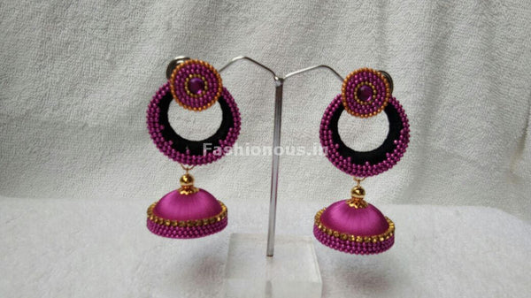 Single Black Chandbali and Pink Silk Thread Jhumkas-STJH-058
