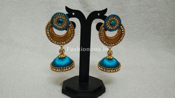 Single Golden Chandbali and Sky Blue Silk Thread Jhumkas -STJH-055