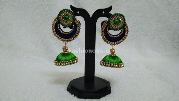 Single Ink Blue Chandbali and Light Green Silk Thread Jhumkas -STJH-053