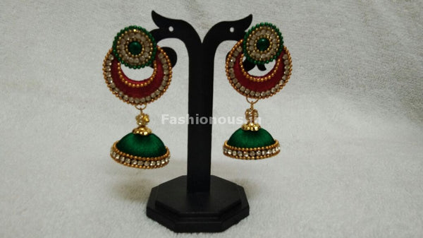Single Red Chandbali and Dark Green Silk Thread Jhumkas -STJH-056