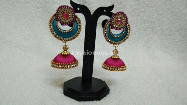 Single Sky Blue Chandbali and Pink Silk Thread Jhumkas-STJH-052