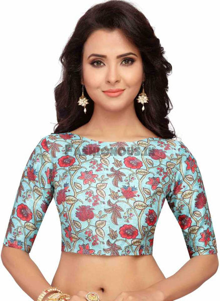SkyBlue Floral Printed Readymade Blouse
