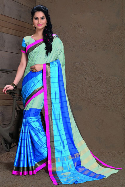 Sky Blue Fancy Cotton Saree-SRE-395